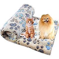 Da.Wa Manta suave y esponjosa para perro o gato con estampado de huellas de huellas, manta cálida para dormir, lavable, 60 x 40 cm