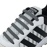 Newkeen No Tie Lacets pour Les Enfants et Adultes, imperméables Silicon Flat élastiques Lacets de Sport Course de Chaussures pour Shoes Sneaker Conseil Bottes et Souliers (Grey)