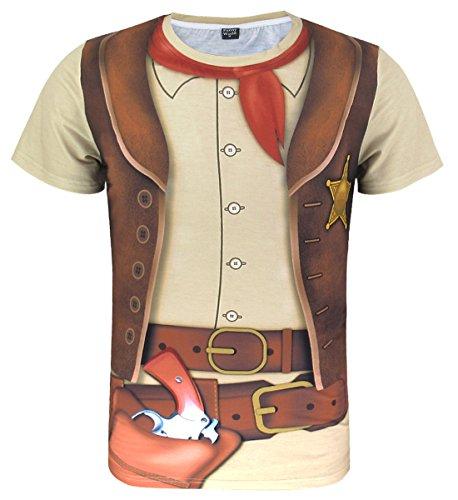 Funny World Herren Western Cowboy Halloween T-Shirts (XXL)
