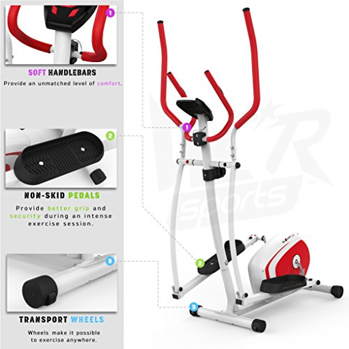 We R Sports Elliptisch ?berqueren Trainer & ?bung Fahrrad 2-in-1 Zuhause Cardio- Training (Red) - 4