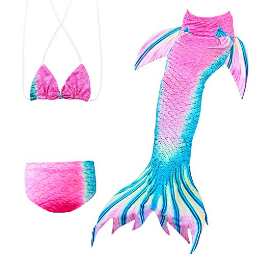 FANCYINN Mädchen Meerjungfrauenschwanz zum Schwimmen Meerjungfrau Bikini Kinder 3 Teilge Badeanzug Meerjungfrauenschwanz Meerjungfrauenkostüm Schwimmanzug Fischschwanz Cosplay Kostüm