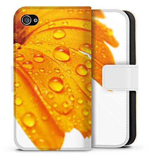 Apple iPhone X Silikon Hülle Case Schutzhülle Blume Tropfen Orange Sideflip Tasche weiß