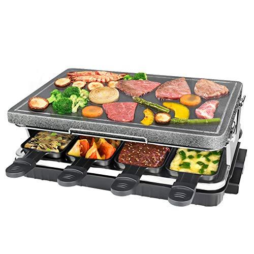 Raclette, Griglia per Raclette con Piastra in Pietra Calore Regolabile 8 Mini Padelle per 8 Persone 1300W, Nero