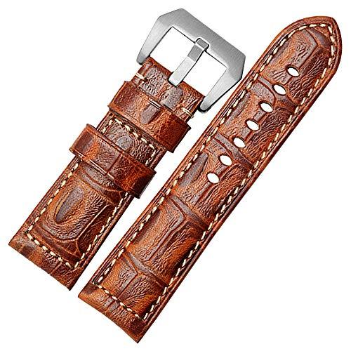 High-End-26mm Uhrenarmband aus Kalbsleder Ersatz Uhrenarmband Armband für Männer Frauen Hellbraun