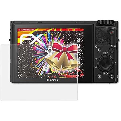 3 x atFoliX Protector Película Sony DSC-RX100 IV Lámina Protectora - FX-Antireflex-HD Antirreflejo para pantallas de alta