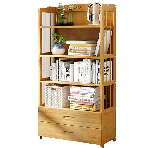 DULPLAY Schublade 3-6 Tier Bücherschrank, Eiche Holz Multifunktionale Bodenstehende Storage Organizer Mord Display lagerung möbel Regal bücherregal-I 80x25x140cm(31x10x55) (5-regal Bücherregal Bücherschrank)