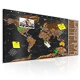 murando - Design Rubbelweltkarte Pinnwand - 90x45 cm - Schwarz - Weltneuheit: Weltkarte zum Rubbeln - Rubbelkarte mit Fahnen/Nationalflaggen - Inkl. 50 Markierfähnchen k-A-0216-o-c