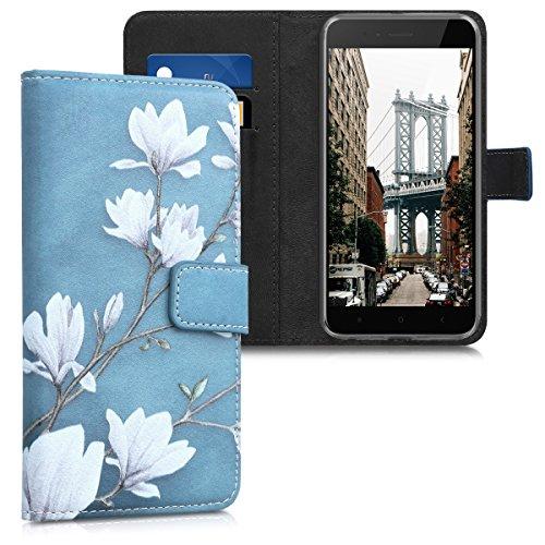 kwmobile Hülle für Xiaomi Mi 5X/Mi A1 - Wallet Case Handy Schutzhülle Kunstleder - Handycover Klapphülle mit Kartenfach und Ständer Magnolien Design Taupe Weiß Blaugrau
