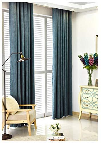 GHFDSJHSD Schattierung Vorhang Baumwolle und Leinen Stil Einfach Modern Wohnzimmer Schlafzimmer Deckenhohe Fenster Erkerfenster Navy blau Eine Scheibe Verknüpfte Modelle