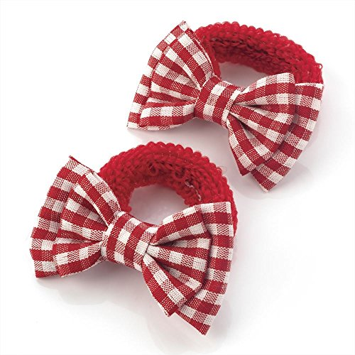 2 x 5.5cm Red & White Gingham Design Bow Hair Ponio Elastics Bobbles Back to School