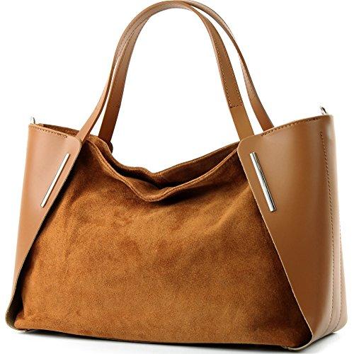 modamoda de - T126 - ital. Shopper Tragetasche Leder/Wildleder, Farbe:Camel -