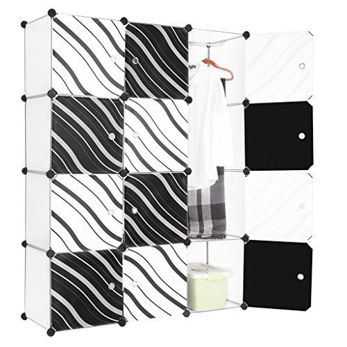LANGRIA Stufenregal 12-Kubus Modular Lagerregal Kleiderschrank Garderobe mit Transluzenten Zebra Striped Türen Design für Kleidung, Schuhe, Spielzeug und Bücher
