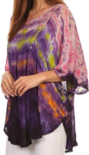 Sakkas Lepha lungo largo Multicolore Tie Dye paillettes ricamati Poncho camicetta superiore Rosa