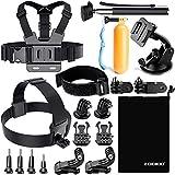 Zookki Set di Accessori per GoPro Hero 43+ 321, fissaggio per fotocamera SJ4000SJ5000SJ6000, per sport all'aperto (paracadutismo, nuoto, canottaggio, Surf, arrampicata, corsa.)