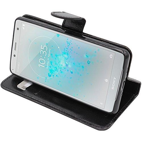 ebestStar - Sony Xperia XZ2 Compact Hülle Kunstleder Wallet Case Handyhülle [PU Leder], Kartenfächern, Standfunktion, Schwarz [Phone: 135 x 65 x 12.1mm, 5.0'']