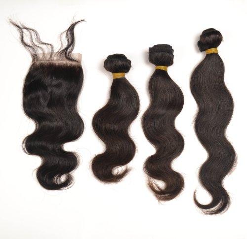 Charming Lot de 3 extensions capillaires style cheveux péruviens ondulés 35, 40 et 45 cm 300 g avec 1 fermeture à lacer 25 cm