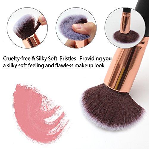 Makeup Brushes, Qivange 10pcs Kabuki Brush Set Synthetic Makeup Brush Foundation Eyeshadow Blush Concealer Powder Brushes