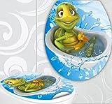 WC Sitz Aufkleber Schildkröte in Badewanne Design Folie Dekor für Toilettendeckel Klodeckel Sticker
