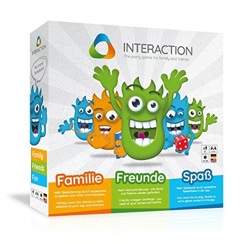 Unvergleichliches Spielerlebnis für bis zu 9 Personen - INTERACTION - modernes Brettspiel mit App Unterstützung | Gesellschaftsspiel Partyspiele Familienspiel Gemeinschaftsspiel Unterhaltungsspiel