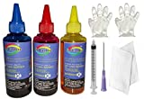 GoColor Refill Ink Kit for Canon Cartridge 811 Colors 100 Ml Bottle ( C/M/Y)