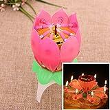 OurLeeme Articoli da regalo 1Pcs Magico Musical Romantico fiore fiore di loto della candela di compleanno Party Lights