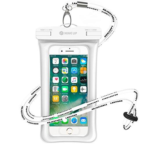 Wasserdichte Hülle Handyhülle NINE UP, Schweben im Wasser,Unterstützung der fingerabdruck freischalten,Universal Handy case Tasche mit Umhängeband für iPhone 7/ 6 / 6S, 7 / 6 / 6S Plus SE 5S, Samsung Galaxy S6 / S7 Edge, Note 5, Huawai Xiaomi HTC LG Sony Nokia Motorola(bis zu 6 Zoll) (Weiße, 6 Zoll)