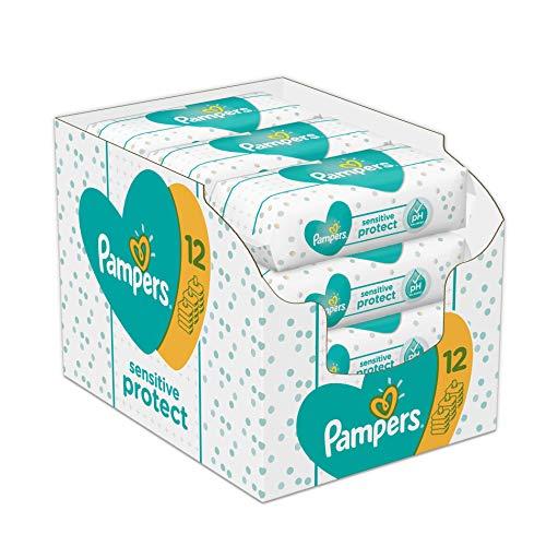 Pampers Sensitive Protect Feuchttücher, 12Packungen(12 x 52 Stück)