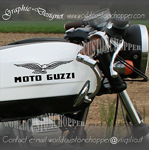 2 ADESIVI STICKERS MOTO GUZZI SERBATOIO CASCO MOTO CUSTOM (ORO)
