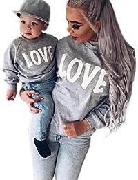 Ropa para toda la familia, Yannerr bebé niño chica mujeres hombre madre hija manga larga invierno emparejar traje sudadera Carta Tops pijamas conjunto