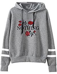 c0a9ebcd586b VEMOW Damen Hoodie, Frauen Rose Nothing Brief gedruckt Langarm Sweatshirt  Bluse