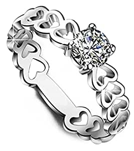 Via Mazzini 925 Silver Plated Heart Ring For Women And Girls (Ring0132)