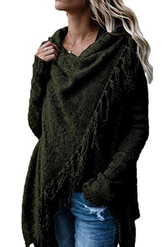 Le Donne Inverno Casual Mucchi Collare Tassel Irregolare Pulsante La Maglia Outercoat Maglione Sopra Green