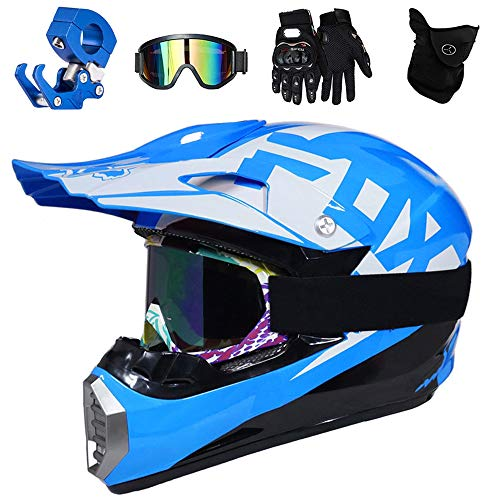 QYTK® Motocross Helm Blau Weiß Kinder Set, Off-Road Motorradhelm mit Brille Maske Handschuhe, Cross Helme Geeignet für Sport Quad Cross Motorrad Bike,S(52~53CM)