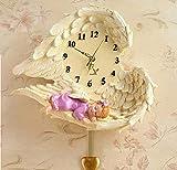 LLBBAN Wanduhr-WanduhrEngel Uhr Liebe Stumm Harz handgemacht Handwerk Geschenke Wohnkultur Dekoration Malerei Vintage-Mädchen-Klein