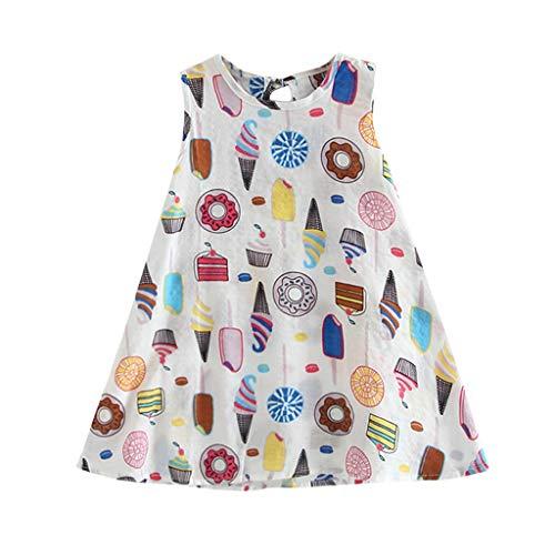 Kind Kostüm Mann Ice Cream - MCYs Kleinkind Baby Kinder Mädchen Sleeveless Ice Cream Cake Print Kleider Freizeitkleidung