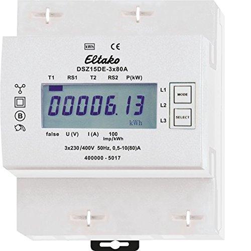 Eltako DSZ15DE-3x80A Drehstromzähler, ungeeicht, 400 V - Breite Zähler Einheit