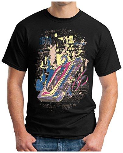 OM3 - MUSIC-CASSETTE - T-Shirt ROCK POP MICROPHONE MIX TAPE SOUND RECORD MC CC KULT Schwarz