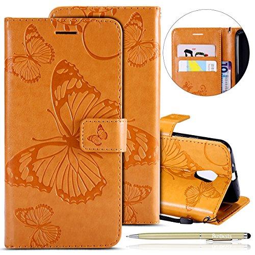 Herbests Kompatibel mit Leder Handy Schutzhülle Motorola Moto G2 Lederhülle Schmetterling Muster Leder Handyhülle Handytasche Brieftasche Ledertasche Bookstyle Flip Case Cover Klapphülle,Gelb (G2 Handy)