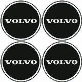 TEILE-24.EU Malinowski Radnabenkappen VOLVO Embleme Felgen Aufkleber Logo Nabendeckel Nabenkappe Radkappe 4 x 56 mm .Farbe: schwarz/chrom