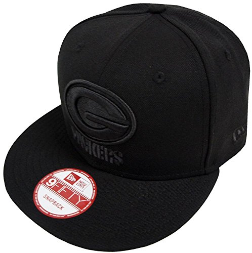 New Era NFL Green Bay Packers Black On Black Snapback Cap 9fifty Limited Edition