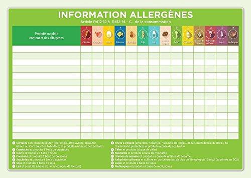 Affichage obligatoire restaurant allergènes - édition 2018 - plastifié - A4 - Vert - Orange