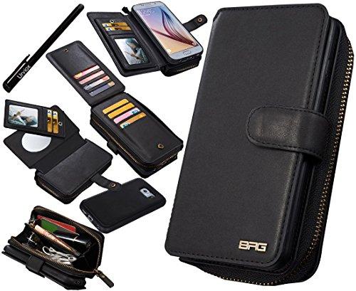 Urvoix Custodia per Galaxy S6, in pelle a portafoglio con zip multifunzionale borsa custodia Flip Magnetica rimovibile, con porta carte, per Samsung Galaxy S6G920