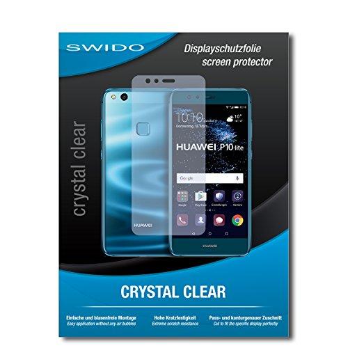 SWIDO Schutzfolie für Huawei P10 lite Dual SIM [2 Stück] Kristall-Klar, Hoher Härtegrad, Schutz vor Öl, Staub und Kratzer/Glasfolie, Displayschutz, Displayschutzfolie, Panzerglas-Folie