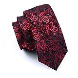 hi-tie Paisley corbata pañuelo gemelos Jacquard tejido de seda corbata Rojo rosso