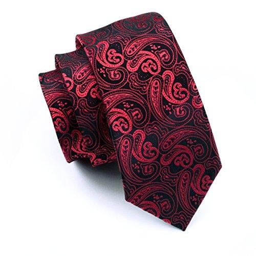 Hi-Tie Paisley corbata pañuelo gemelos Jacquard tejido de seda corbata Rosa rosa