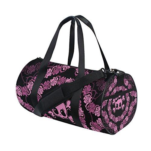 n Totenköpfe und Rosen Sports Gym Tasche für Frauen und Herren Duffle Reisetasche (Kinder-tennis-schuhe Größe 9)