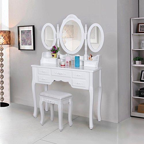 Songmics weiß luxuriös Kippsicherung Schminktisch mit 3 spiegel und hocker, 7 schubladen inkl. 2 Stück Unterteiler, Kippsicherung, 145 x 90 x 40 cm RDT91W - 2