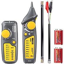 URCERI - Comprobador de Cables, RJ11 RJ45 Detector de Cables, Wire Tracker Sensibilidad ajustable, Prueba de Línea Telefónica, Verificación Continua, Linterna Incorporada (Baterías Incluidas)