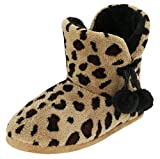 Brandsseller Kuschelige Damen Hüttenschuhe Hausstiefel Plüsch mit Muster und Bommel - Farbe: Tiger - Größe: 38