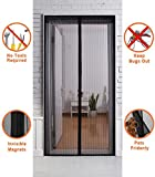 """Olanstar Magnetic Screen Door for Folding Front Temporary Mesh Magnet Mosquito Screen Netting Doors Patio bug, Full Frame Invisible Velcro. Doors and Screens Openings up - 36"""" x 83"""" - Black"""
